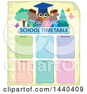 Clipart Of A Wise Professor Owl And Students On A Timetable Royalty Free Vector Illustration
