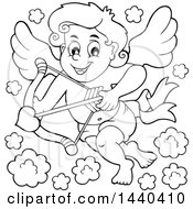 Black And White Lineart Valentines Day Cupid Aiming An Arrow