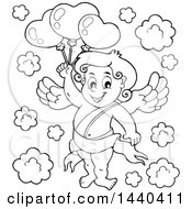 Black And White Lineart Valentines Day Cupid Holding Balloons