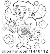 Clipart Of A Black And White Lineart Valentines Day Cupid Holding A Lyre Royalty Free Vector Illustration