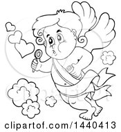 Clipart Of A Black And White Lineart Valentines Day Cupid Blowing Bubbles Royalty Free Vector Illustration by visekart