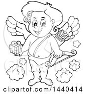 Black And White Lineart Valentines Day Cupid Holding A Gift