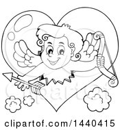 Black And White Lineart Valentines Day Cupid Emerging From A Heart