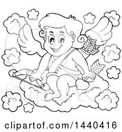 Black And White Lineart Valentines Day Cupid Sitting On A Cloud