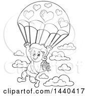 Clipart Of A Black And White Lineart Valentines Day Cupid Parachuting Royalty Free Vector Illustration