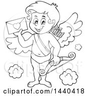 Clipart Of A Black And White Lineart Happy Cupid Holding A Valentine Royalty Free Vector Illustration