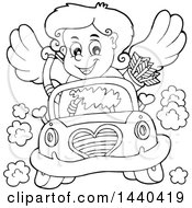 Black And White Lineart Valentines Day Cupid Driving A Car