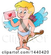 Clipart Of A Happy Cupid Holding A Valentine Royalty Free Vector Illustration by visekart