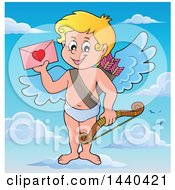 Clipart Of A Happy Cupid Holding A Valentine And Standing On A Cloud Royalty Free Vector Illustration
