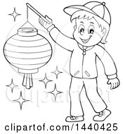 Clipart Of A Cartoon Black And White Lineart Happy Boy Holding A Paper Lantern Royalty Free Vector Illustration