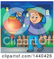 Clipart Of A Cartoon Happy Caucasian Boy Holding A Paper Lantern In A Town Royalty Free Vector Illustration