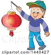 Clipart Of A Cartoon Happy Caucasian Boy Holding A Paper Lantern Royalty Free Vector Illustration