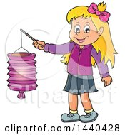 Clipart Of A Cartoon Happy Caucasian Girl Holding A Paper Lantern Royalty Free Vector Illustration