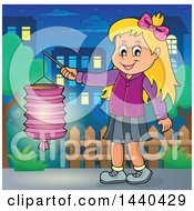 Clipart Of A Cartoon Happy Caucasian Girl Holding A Paper Lantern In A Town Royalty Free Vector Illustration