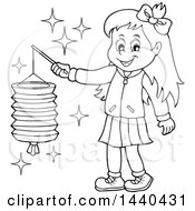 Clipart Of A Cartoon Black And White Lineart Happy Girl Holding A Paper Lantern Royalty Free Vector Illustration