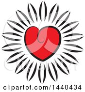 Clipart Of A Love Heart Flower Royalty Free Vector Illustration