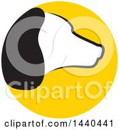 Clipart Of A Profiled Dog Head In A Yellow Circle Royalty Free Vector Illustration