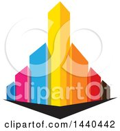 Clipart Of A City With Colorful Skyscrapers Royalty Free Vector Illustration by ColorMagic
