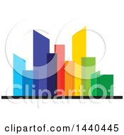 Clipart Of A City With Colorful Skyscrapers Royalty Free Vector Illustration