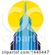 Clipart Of A Blue Skyscraper And Sun Royalty Free Vector Illustration by ColorMagic