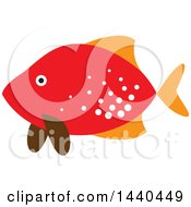 Clipart Of A Red Marine Fish Royalty Free Vector Illustration