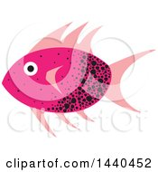 Clipart Of A Pink And Black Marine Fish Royalty Free Vector Illustration