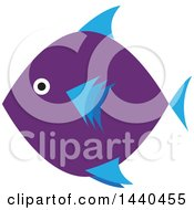 Clipart Of A Blue And Purple Marine Fish Royalty Free Vector Illustration