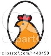 Hen Head In Profile In An Oval