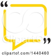 Clipart Of A Yellow Speech Balloon With Quotation Marks Royalty Free Vector Illustration