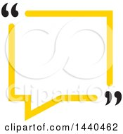 Yellow Speech Balloon With Quotation Marks