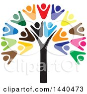 Clipart Of A Teamwork Unity Group Of People Forming A Tree Royalty Free Vector Illustration