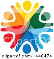 Teamwork Unity Circle Of Colorful People Dancing Or Cheering