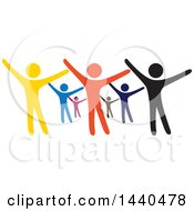 Group Of Colorful People Dancing Or Cheering