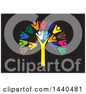 Clipart Of A Teamwork Unity Group Of People Forming A Tree On Black Royalty Free Vector Illustration