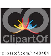 Clipart Of A Group Of Colorful People Dancing Or Cheering On Black Royalty Free Vector Illustration