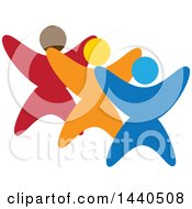 Clipart Of A Group Of Colorful People Dancing Or Cheering Royalty Free Vector Illustration