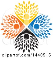 Clipart Of A Teamwork Unity Group Of Colorful People Forming A Tree Royalty Free Vector Illustration