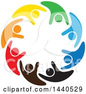 Clipart Of A Teamwork Unity Circle Of Colorful People Dancing Swimming Or Cheering Royalty Free Vector Illustration