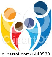 Clipart Of A Teamwork Unity Group Of People Or A Family Royalty Free Vector Illustration