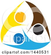 Clipart Of A Group Of Colorful People Dancing Swimming Or Cheering Royalty Free Vector Illustration