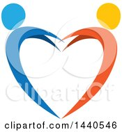 Clipart Of A Blue And Orange Couple Dancing And Forming A Heart Royalty Free Vector Illustration