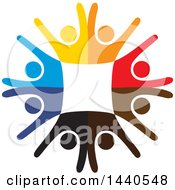 Clipart Of A Teamwork Unity Circle Of Colorful People Dancing Or Cheering Royalty Free Vector Illustration
