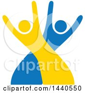 Clipart Of A Blue And Yellow Couple Dancing Royalty Free Vector Illustration
