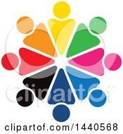 Clipart Of A Teamwork Unity Circle Of Colorful People Royalty Free Vector Illustration