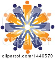Clipart Of A Teamwork Unity Group Circle Of Blue And Orange People Royalty Free Vector Illustration