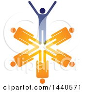 Clipart Of A Teamwork Unity Group Of Blue And Orange People Royalty Free Vector Illustration