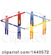 Clipart Of A Teamwork Unity Diamond Of Colorful People Royalty Free Vector Illustration