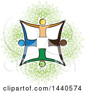 Clipart Of A Teamwork Unity Group Of People Forming A Tree Cross With Leaves Royalty Free Vector Illustration