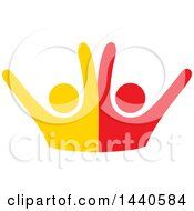 Clipart Of A Yellow And Red Couple Dancing Royalty Free Vector Illustration