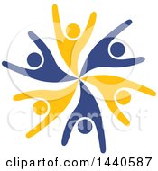 Clipart Of A Teamwork Unity Circle Of People Dancing Or Cheering Royalty Free Vector Illustration